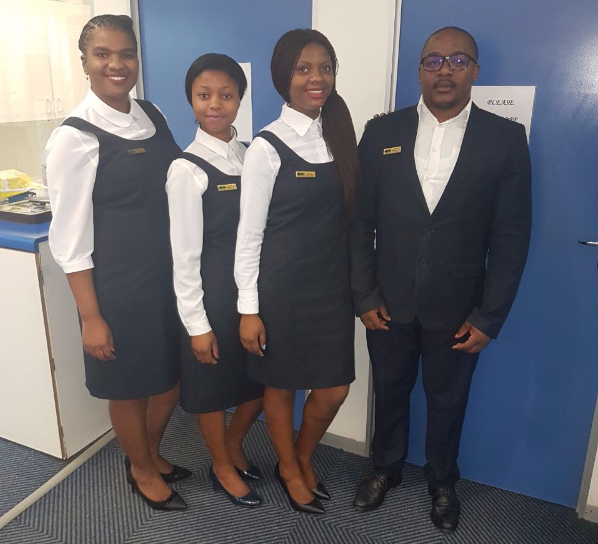 From left: Kallie (Practice Manager), Zintle (Optical Assistant), Laiko (Frontliner), and Xola Ngquseka (Optometrist)
